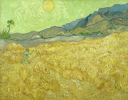 Van Gogh Wheat Fields Reaper Sunrise by Vincent Van Gogh