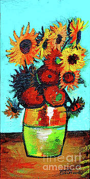 Van Goghs Sunflowers In A Vase by Genevieve Esson