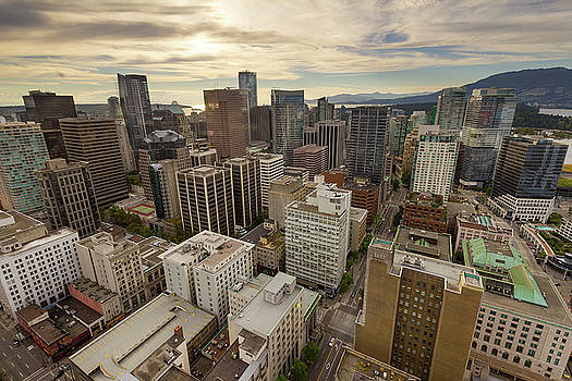 Vancouver BC Cityscape Aerial View by David Gn