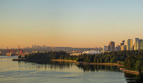 Vancouver BC cityscape by Stanley Park morning view by David Gn
