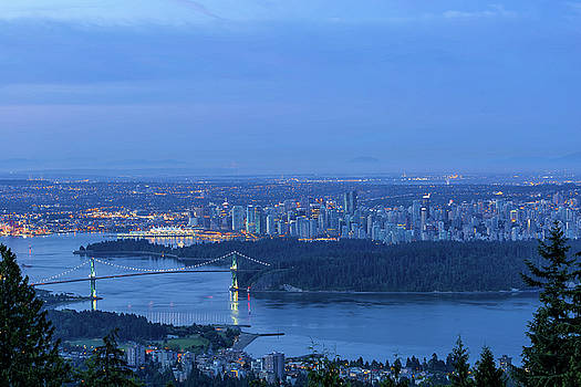 Vancouver BC Cityscape during Blue Hour Dawn by David Gn