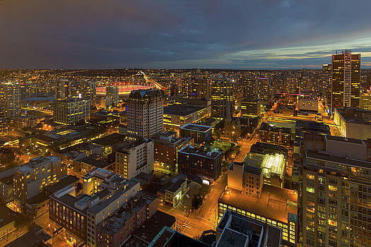 Vancouver BC Cityscape during Evening Twilight by David Gn