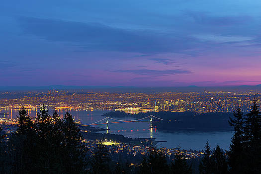Vancouver BC Cityscape Lions Gate Bridge Sunset by David Gn