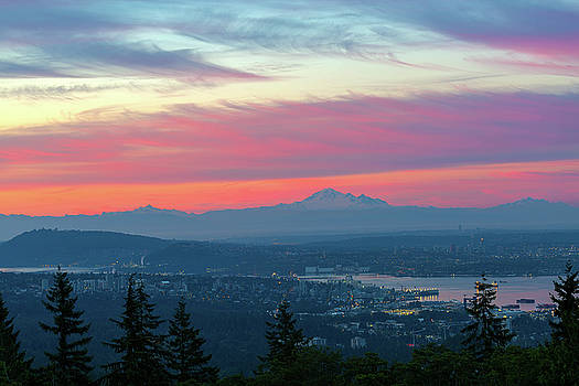 Vancouver BC cityscape with Cascade Range morning view by David Gn