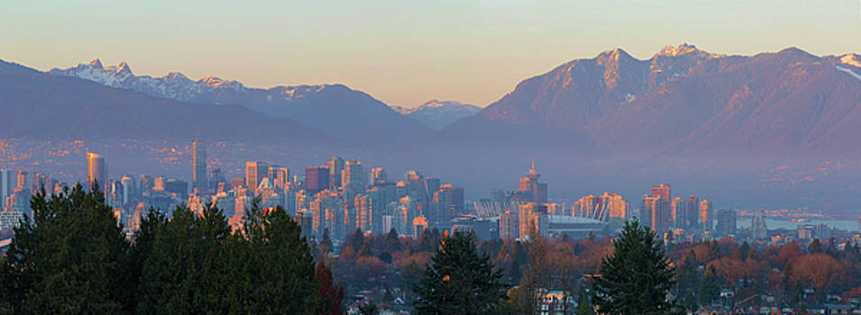 Vancouver BC Downtown Cityscape at Sunset Panorama by David Gn