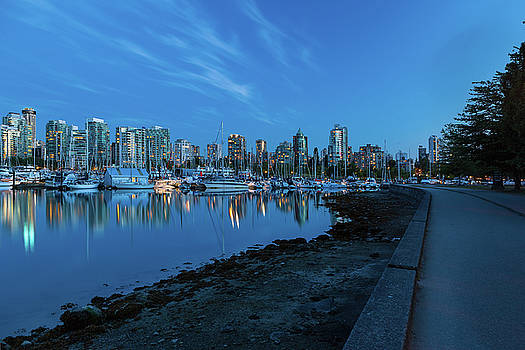 Vancouver BC Skyline along Stanley Park Seawall by David Gn