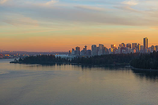 Vancouver BC Skyline and Stanley Park at Sunset by David Gn