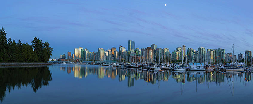 Vancouver BC Skyline During Blue Hour Panorama by David Gn