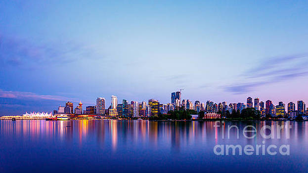 Vancouver City Skyline at Dusk by Engel Ching