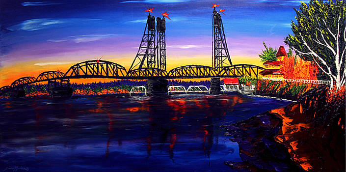Vancouver I-5 Bridge At Dusk #1 by Portland Art Creations