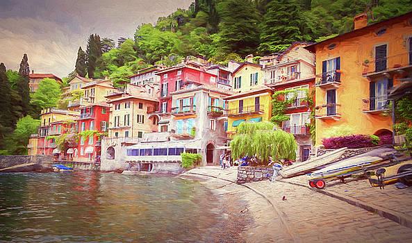 Varenna Italy Waterfront Painterly by Joan Carroll