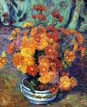 Vase De Chrysanthemes 1885 by Guillaumin Armand