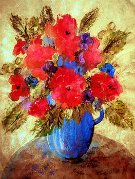 Valerie Anne Kelly - Vase of delight-Still Life Painting By V.kelly