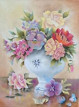 Vase of Flowers still Life by Lynsey Loughrey