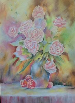 Vase of pink roses by Lynsey Loughrey