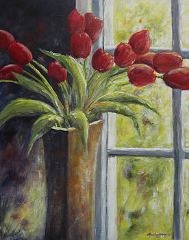 Vase of Red Tulips by Marsha Young