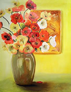 Vase of Violas by Marcia  Hero