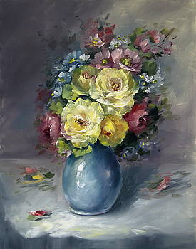 David Jansen - Vase of Yellow Roses