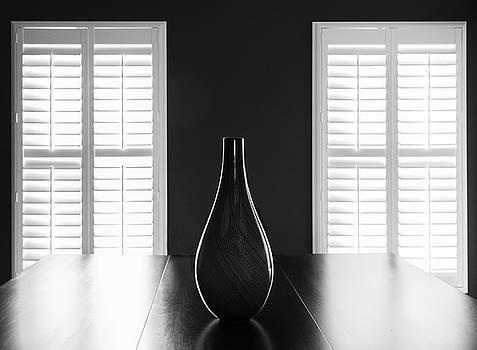 Vase Windows Bw by Roy Inman