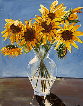 Vase with Sunflowers by Rachelle Dyer