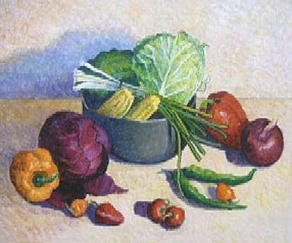 Vegetables in a Black Bowl by Gainor Roberts