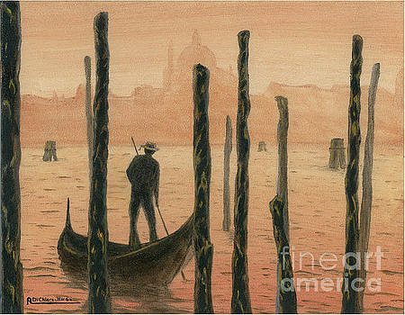 Venetian Gondolier in the sunset by Italian Art