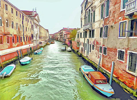 Venice Canal with Boats by Bishopston Fine Art