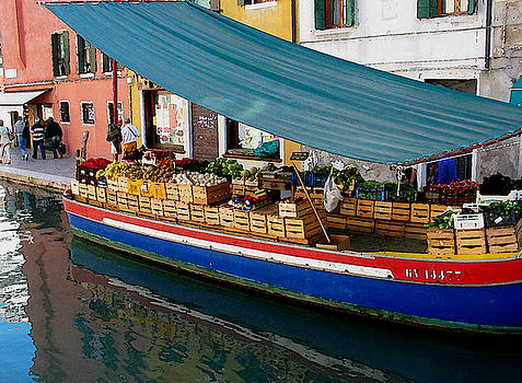 ITALIAN ART - Venice Fresh market Boat