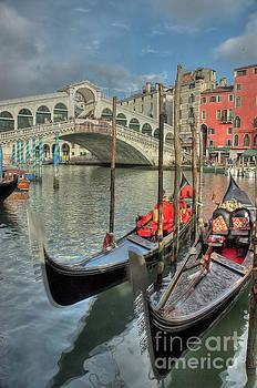 Venice Gondalos at Rialto Bridge by Martin Williams