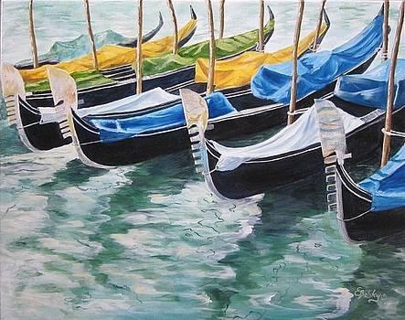 Venice Gondolas by Elaine Balsley