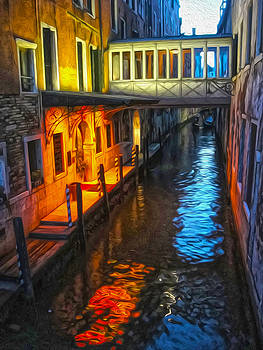 Gregory Dyer - Venice Italy - Colorful Canal at night