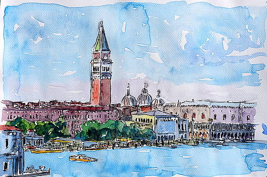 Venice Serenissima with St. Marks Bell Tower and Doge Palace by M Bleichner