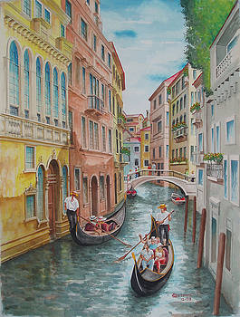 Venice waterway  Italy by Charles Hetenyi