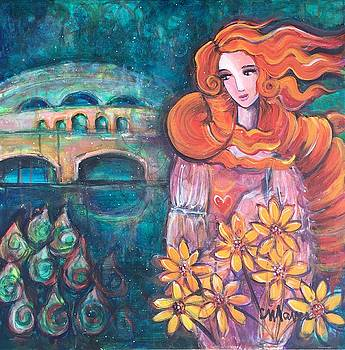 Venus and Sunflowers by Laurie Maves ART