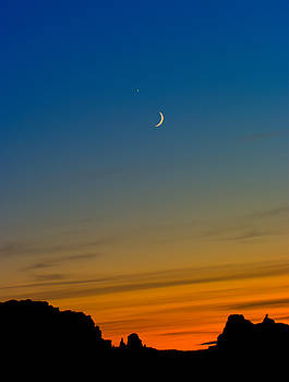 Venus and the Moon Sunset by Jeff Clay