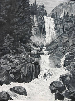 Vernal Falls Black and White by Travis Day