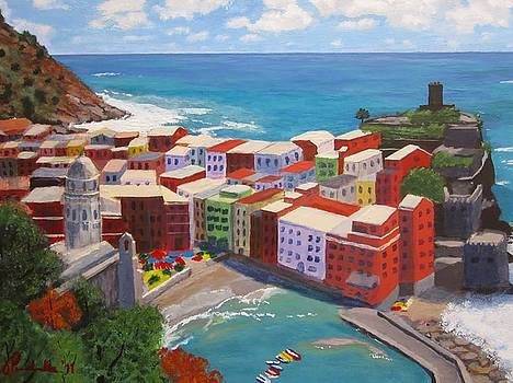 Vernazza from the hills by John Prenderville