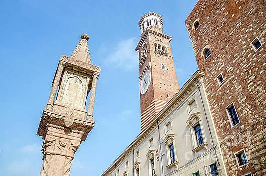Verona Veneto Italy Colonna Antica and Torre dei Lamberti seen f by Luca Lorenzelli