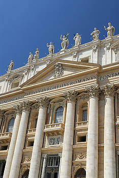 Reimar Gaertner - Vertical detail of entrance Facade of St Peters Basilica in Rome
