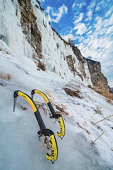 Vertical Ice climbing tools by Elijah Weber