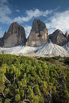 Vertical image of Tre Cime di Lavaredo in Dolomites mountains, Italy, Europe by Blaz Gvajc