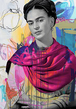 Frida Kahlo colorful by Vitor Costa