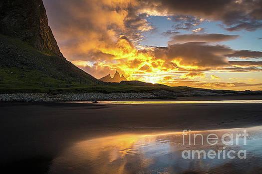 Vestrahorn Fiery Sunrise Skies by Mike Reid