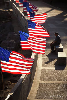 Veteran With Our Nations Flags by John A Rodriguez