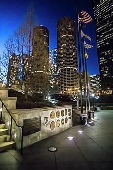 Veteran's Memorial on the Chicago riverwalk at dusk by Sven Brogren