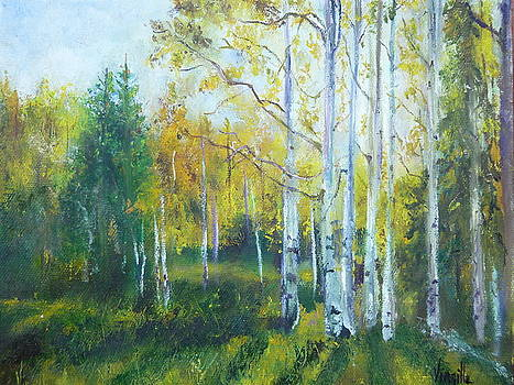 Vibrant Landscape Paintings - Arizona Aspens and Pine Trees - Virgilla Art by Virgilla Lammons