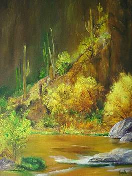 Vibrant landscape paintings  - Arizona Canyon Scene - Virgilla Art by Virgilla Lammons