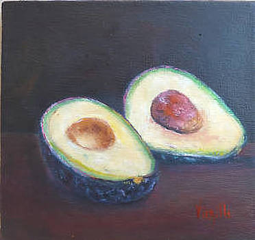 Vibrant still life painting - Avocado by Virgilla Lammons