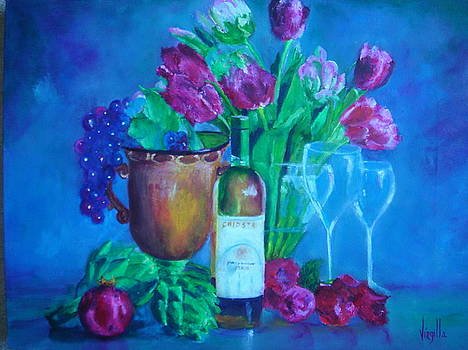 Vibrant still Life Paintings - Chiostro Chardonnay Del Salento by Virgilla Lammons