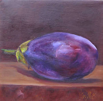 Vibrant still life paintings - Eggplant - Virgilla Art by Virgilla Lammons